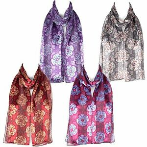 Chiffon-Satin-Flower-Design-Ladies-Scarf