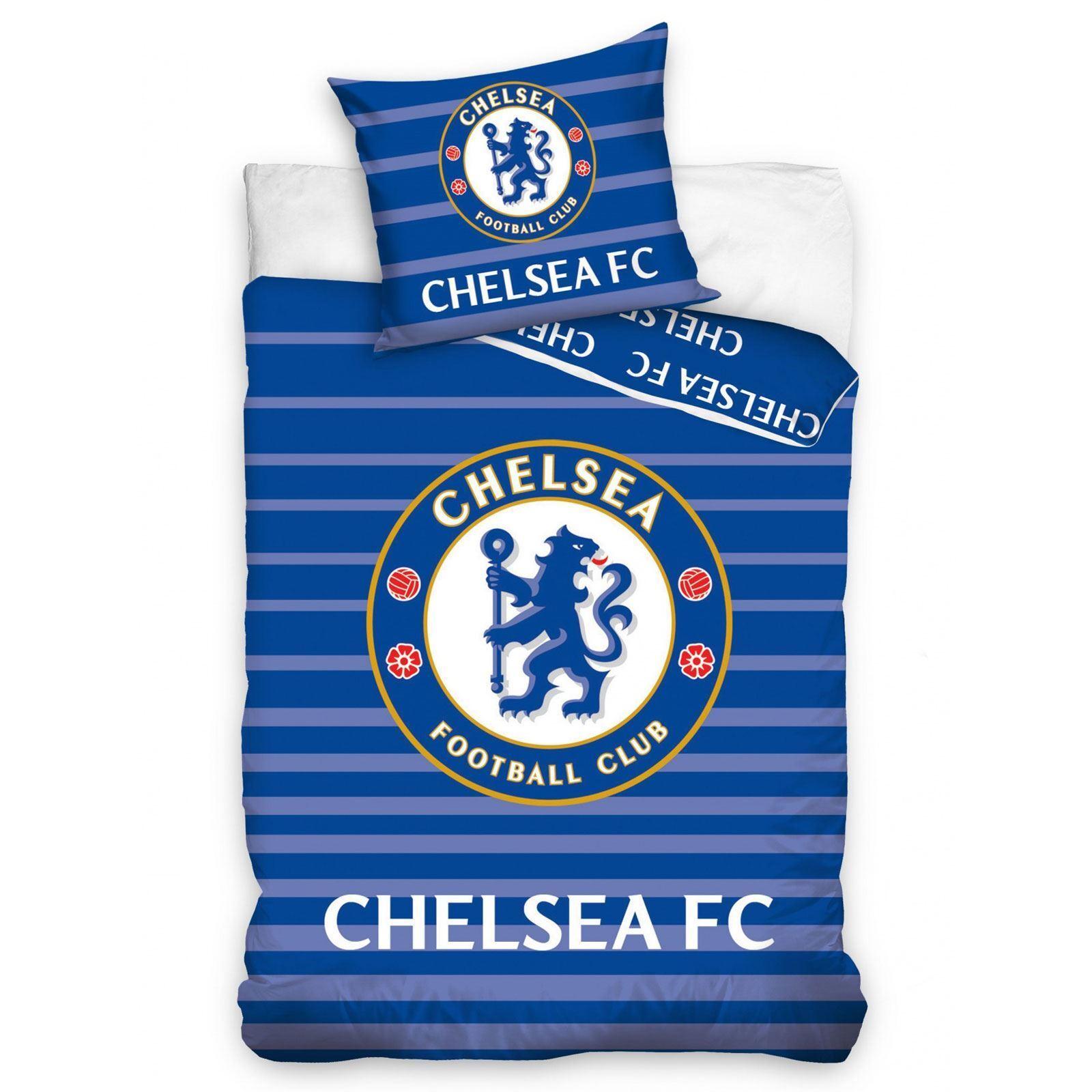 CHELSEA FC MATCH SINGLE DUVET COVER SET COTTON FOOTBALL BEDDING 2 IN 1 DESIGN