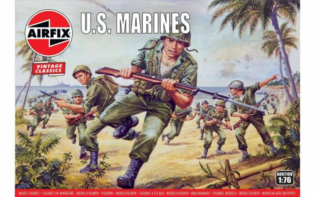 Airfix A00716V Vintage WWII U.S. Marines Army 45 Figures 1:76 Scale T48 LB