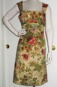 Maggy-London-Beige-Red-Green-Floral-Beaded-Sleeveless-Dress-Size-8