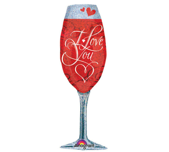 Champagne Glass I LOVE YOU Red Elegant Valentines Love Wedding Party Balloon