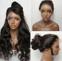 16-26 Cheap Black Body Wave Glueless Synthetic Fiber Lace Front Hair Wigs