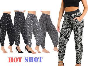 Plus-Size-Women-Ladies-Paisley-Print-Cuffed-Bottom-Ali-Baba-Hareem-Trouser-Pant-gt