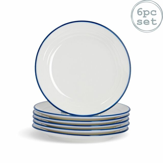 6x Country Farmhouse White Side Plates Set with Blue Rims 16cm