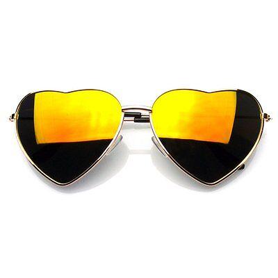 Heart Aviator Sunglasses Vintage Mirror Lens New Women Fashion Metal Frame Retro