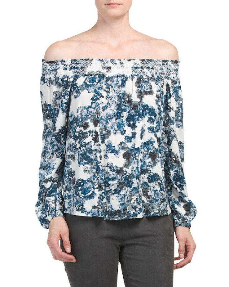PARKER Off The Shoulder Long Sleeve Blouse Top blueebonnet Floral Sz XS S NWT