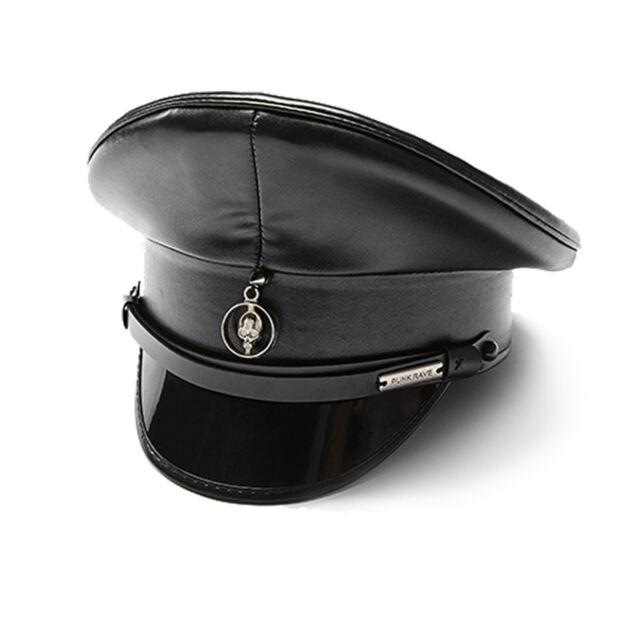 5a171851d Adult Punk General Dominatrix Costume Military Village Hat Faux Leather  Black