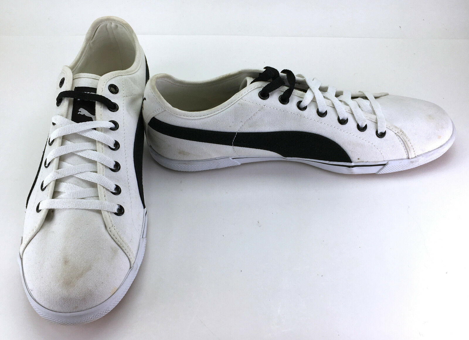 Puma Shoes Sneakers Benecio Canvas White/Black Sneakers Shoes Size 12 3572b2