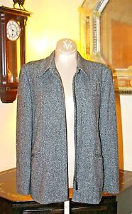 Herringbone Grey Zip Tweed Blk Front Wool Jacket Ralph Lauren wYqp6H6