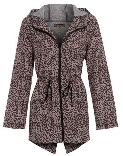 Nouveau Femme Imprimé Léopard courbe attirer chaîne douche preuve à capuche manteau de pluie 18-24