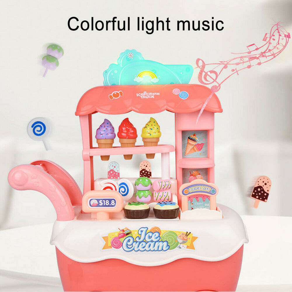 Kids Ice Cream Cart Shop Toy Role Pretend Play Toys Lighting with Music Gift