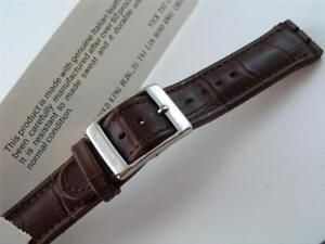 NEW-Brown-Leather-Watch-Band-Strap-Parts-Fits-SWATCH-Irony-Chronograph-Size-17mm