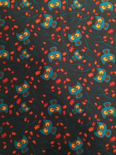 Cute Navy Blue Corduroy With Colorful Owls  From JoAnn Fabric Per 1//2 Yard