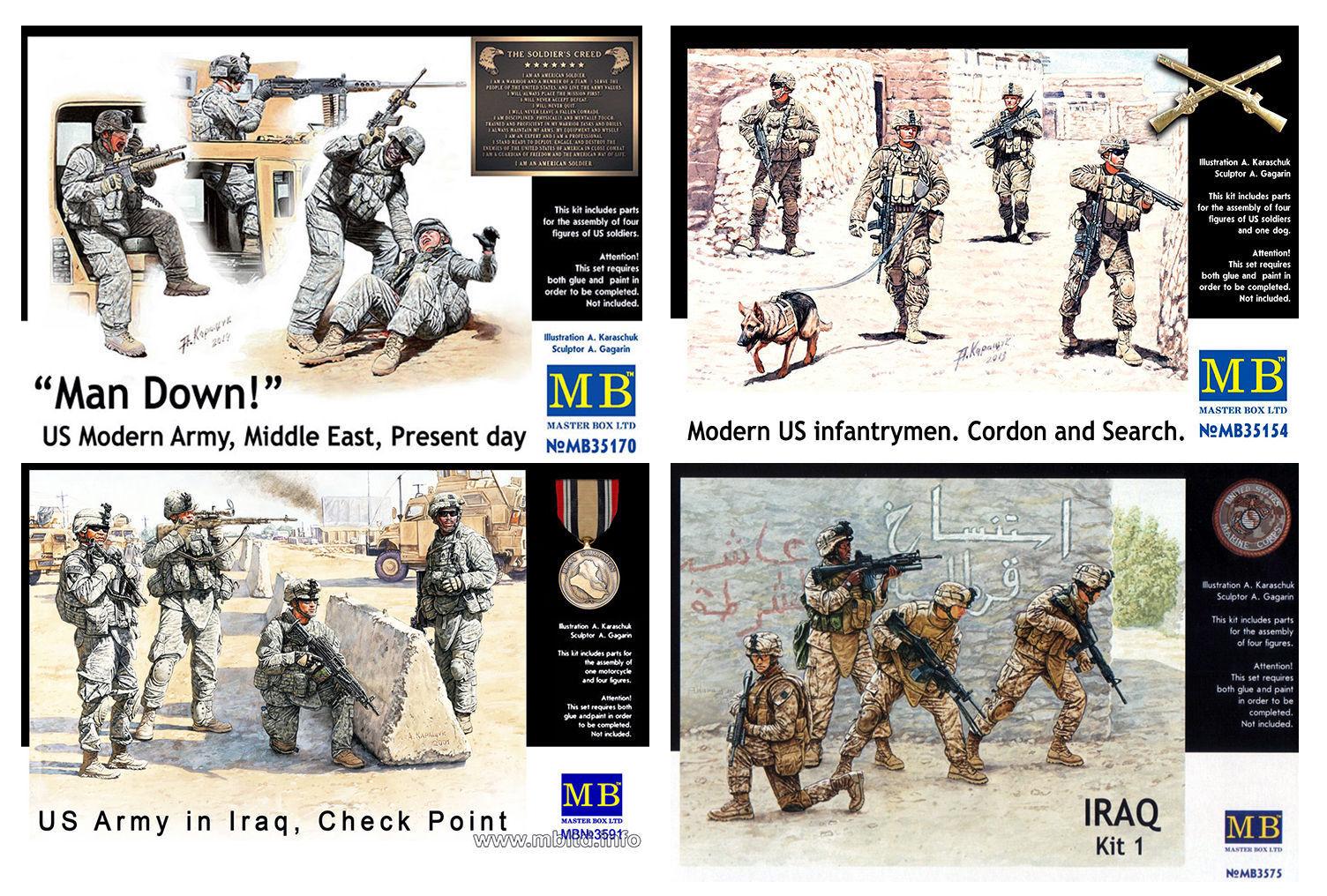 SET OF 4 KITS  MODERN US ARMY ARMY ARMY SOLDIERS   1 35 MASTER BOX  3575 3591 35154 35170 8db621