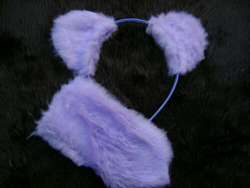 Lilac Teddy Bear Ears And Tail Instant Animal Fancy Dress Costume Dress Up