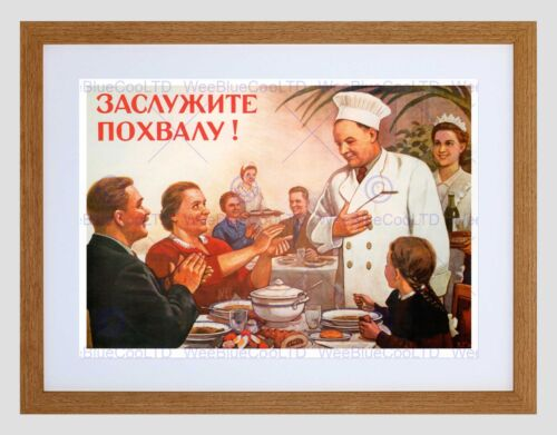 PROPAGANDA USSR COMMUNISM CHEF EARNS PRAISE BLACK FRAMED ART PRINT B12X4621