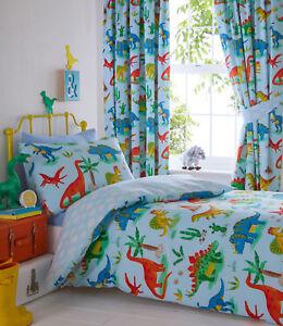 Dinosaur Bedding Or Curtains Blue Dino Orange Red Yellow