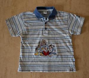 Shirt-Poloshirt-Hemd-98-104-Mickey-Mouse-bestickt-Disney-beige-blau