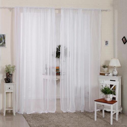 2 Panels Eyelet Ring Top Voilet Curtains Plain Voile Slot Top Rod Net Curtain UK