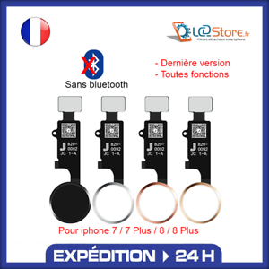 Bouton home complet fonctionnel IPhone 7 / 7plus / 8 / 8plus Noir Blanc Or