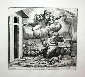 1674 Raphael Fanetti Vatican Bible God Abraham Radierung etching Kupferstich
