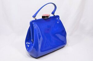 Rare-Lulu-Guinness-Cobalt-Blue-Red-Lips-Patent-Bag-With-Shoulder-Strap