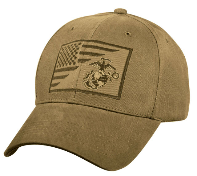 USMC Military Cap Globe Anchor Coyote Brown Low Profile Cotton Baseball Hat  7185 508df28a34b2