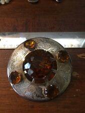 Antique Vintage Scottish Kilt Pin Very Large Thistle Engraved And Stones Gt Brit