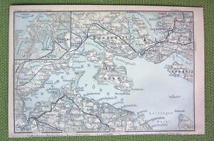 GERMANY Glucksburg Denmark Sonderborg 1904 MAP ORIGINAL Baedeker