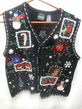 Ugly Christmas Party Sweater Medium Vest Womens Black
