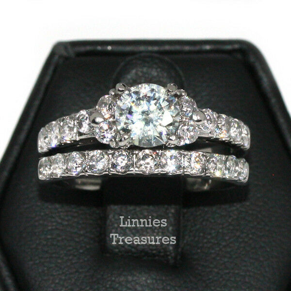Engagement Wedding Ring Set Two Rings 7mm Round Clear CZ 316 Stainless Steel