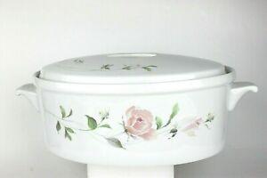 Sango 3 Quart Oval Covered Casserole #1051 Fine China Sculpture Rose Pattern New