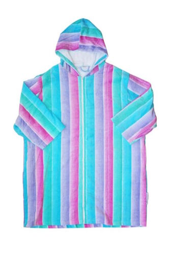 Hooded Towelling Robe Back Beach Co Coral Fade