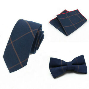 ffa0b18cdc1e Details about Men Skinny Cotton Bow Tie Set Handkerchief Necktie Set Dark  Blue Khaki Striped