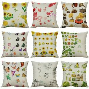 18-034-Pillow-Case-Print-Home-Blossom-Cushion-Cover-Cotton-Linen-Butterfly-Decor
