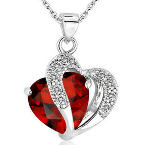 Fashion Women Heart Crystal Rhinestone 925 Silver Chain Pendant Necklace Easter