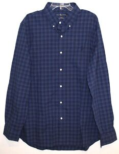 Polo Ralph Lauren Mens Navy Blue Plaid Slim Fit Button-Front Shirt NWT 2XL XXL