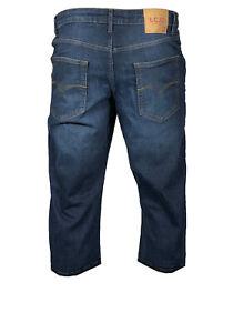 Mens-LCJ-Denim-3-4-Classic-Regular-Fit-Shorts-stretch-Jeans-Dark-wash-RRP-25