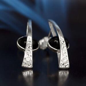 Onyx-Silber-925-Ohrringe-Damen-Schmuck-Sterlingsilber-S318