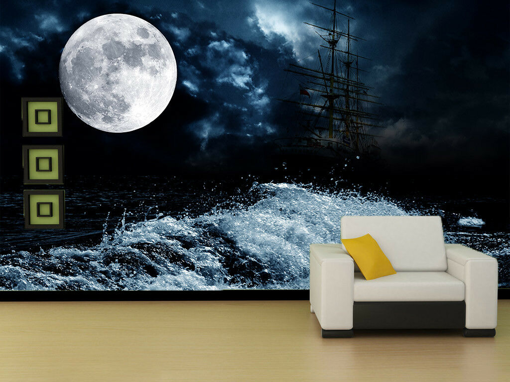 3D Waves Boat Moon 451 Wall Paper Wall Print Decal Wall Deco Indoor Mural Lemon