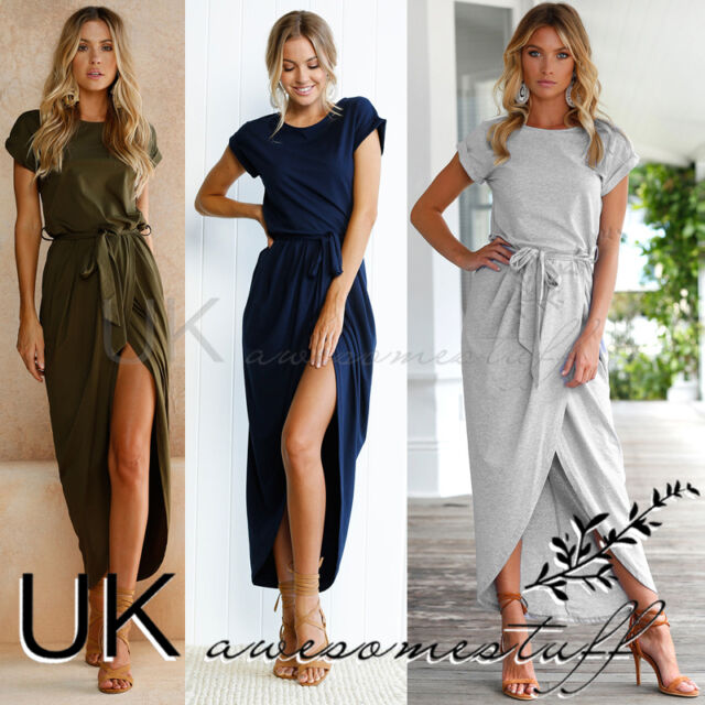 UK Womens Short Sleeve Plain Colour Split Dress Ladies Long Wrap Dress Size 6-14