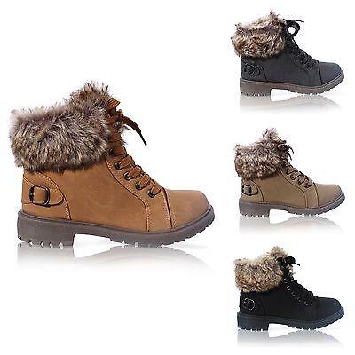 Damas Suela Agarre Imitación Piel Invierno Cálido Tobillo Botas Para Mujer Zapatillas Zapatos Talla 3-8