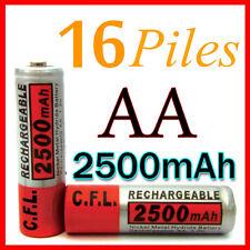 16 PILES ACCUS RECHARGEABLE AA NI-MH 2500mAh 1.2V LR06 MIGNON - DIRECT DE FRANCE