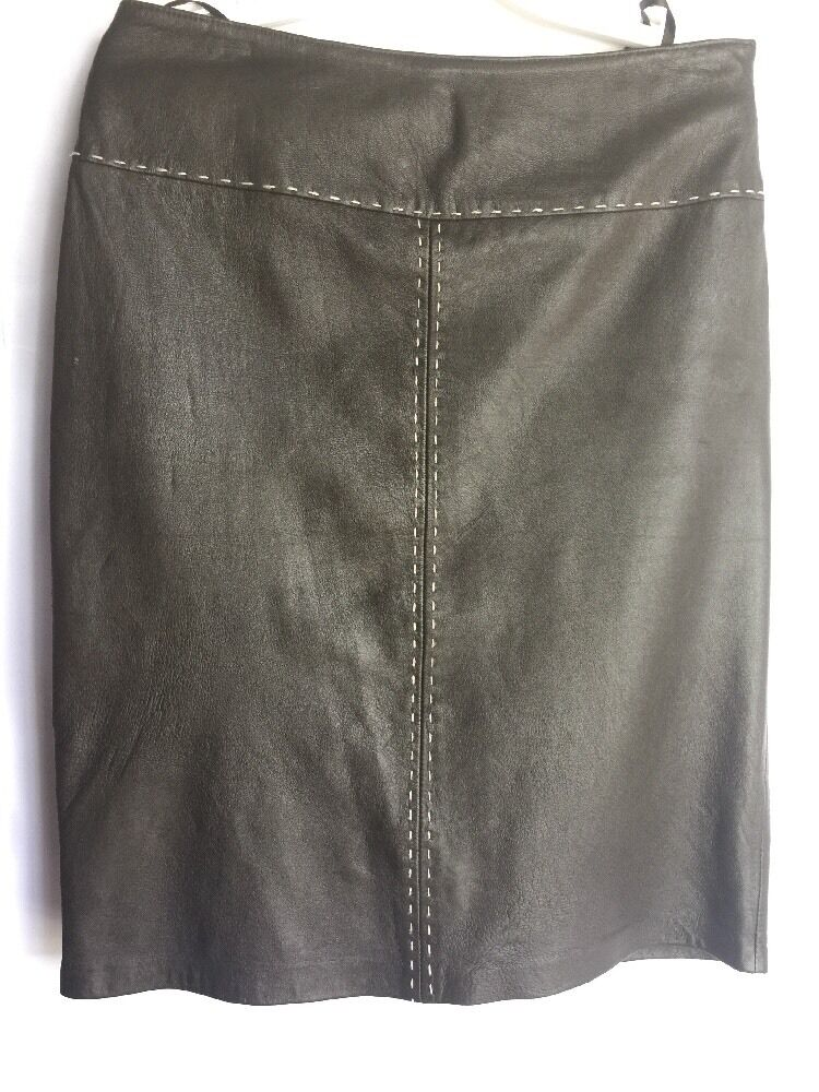INC Brown Womens A-Line Leather Skirt Size 4