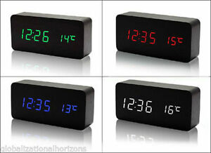 Wooden-Digital-LED-Display-Desk-Table-Clock-Temperature-Alarm-Modern-Home-Decor