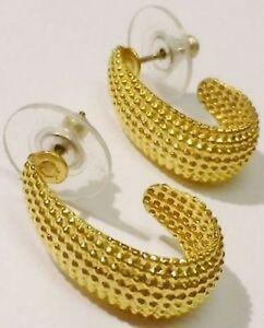 Boucles D'oreilles Percées Bijou Vintage Couleur Or Diamanté Demi-anneau 457