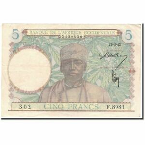 Km:25 1942-04-22 5 Francs Au French West Africa #592708 50-53 United Banknote