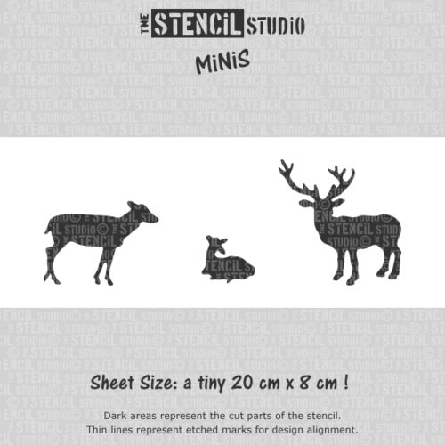 Reusable Stencils for Crafts /& DIY 10522 Stencil MiNiS Deer Stag Fawn stencil
