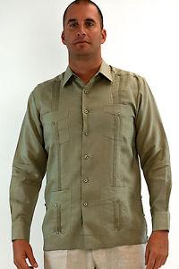 Mens-Bohio-100-Linen-Sage-Cuban-Guayabera-4-Pkt-L-S-Shirt-S-2XL-MLS501