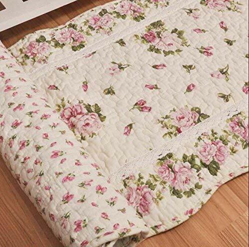 Rustic Rose Flowers Area Carpet Home Decor Cotton Pink Pattern Bedroom Floor Rug